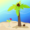 Cute cocktail glass on summer seashore vector illustration of hand drawn style with palm tree and coconut Royalty Free Stock Photography