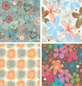 Cute collection of floral patterns set of beautiful unusual backgrounds with flowers decorative Royalty Free Stock Photo