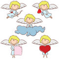 Cute color cupid set Royalty Free Stock Photo