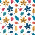 Cute colorful autumn fall seamless vector pattern background illustration with leaves