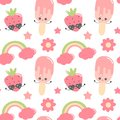 Cute colorful cartoon hand drawn seamless vector pattern background illustration with ice cream, strawberry, flowers, rainbow and