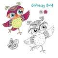 Cute colorful cartoon owl is dansing