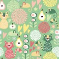 Cute colorful cartoon seamless floral pattern with animals cat and mouse