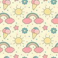 Cute colorful cartoon seamless vector pattern background illustration with rainbows, sun, clouds, ice creams, stars and flowers
