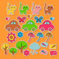 Cute colorful childish stickers Royalty Free Stock Photos