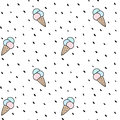 Cute colorful cone ice cream seamless vector pattern background illustration with dots Royalty Free Stock Photo