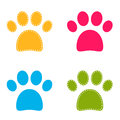 Cute colorful doggie paws collection vector illustration Stock Photos