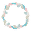 Cute colorful feather frame design; circle decoration Royalty Free Stock Photo