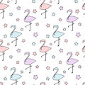 Cute colorful flamingos silhouette with stars seamless pattern background illustration