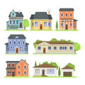 Cute colorful flat style house village symbol real estate cottage and home design residential colorful building Royalty Free Stock Photo
