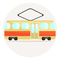 Cute colorful flat tram icon