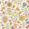 Cute colorful floral seamless pattern with butterf rabbit snail and butterflies Royalty Free Stock Image
