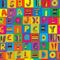 Cute colorful geometrical seamless with alphabet