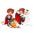 Cute colorful Halloween kids in costume for party set isolated vector illustration Royalty Free Stock Photo