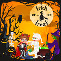 Cute colorful Halloween kids in costume for party set vector illustration Royalty Free Stock Photo