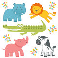 Cute colorful jungle animals collection Stock Photography