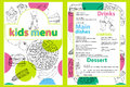 Cute colorful kids meal menu template with funny cartoon kitchen boy. Different types of dishes on a hand drawn grocery bac