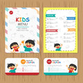 Cute colorful kids meal menu vector template with happy boy and