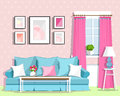 Cute colorful living room interior design with furniture. Retro style room. Royalty Free Stock Photo
