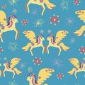 Cute colorful magic unicorn seamless poster,greeting card, fabric, wallpaper,t-shirt.Miracle colorful unicorn seamless