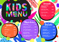 Cute colorful meal kids menu template with colorful background