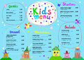 Cute colorful meal kids menu template with cute little sweet houses