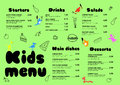 Cute colorful meal kids menu template with cute little sweet houses Royalty Free Stock Photo