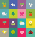 Cute colorful nature icons set vector illustration Stock Images