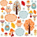 Cute colorful seamless forest pattern with animals hare and owl child funny autumn design Stock Image
