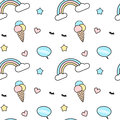 Cute colorful seamless pattern background illustration mix with rainbow, ice cream, eyelashes, heart, star and speech bubbl Royalty Free Stock Photo