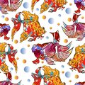 Cute colorful seamless pattern with calico goldfish and lionhead goldfish over white backgroud for textile or book covers,