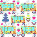 Cute colorful seamless pattern with fantasy trolleybus and seam