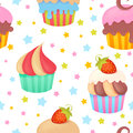 Cute colorful seamless pattern with muffins delicious and cupcakes Stock Photos