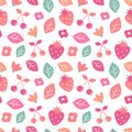 Cute colorful seamless vector pattern background illustration with strawberries, cherries, leaves and flowers Royalty Free Stock Photo