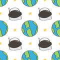 Cute and colorful space doodles seamless pattern background with spaceman helmet and planet earth Royalty Free Stock Photo