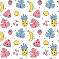 Cute colorful summer seamless vector pattern background illustration with exotic leaves, bananas, pineapples, lemons, watermelon