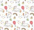 stock image of  Cute colorful unicorn seamless pattern