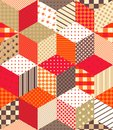 Cute colorful vector background with cubes and stars. Seamless patchwork pattern on warm tones. Royalty Free Stock Photo