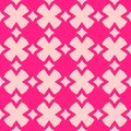Cute pink vector abstract geometric seamless pattern with flower Royalty Free Stock Photo