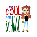 Cute colorful vector school illustration with cool school girl and too for typography lettering Stock Photo