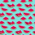 Cute colorful watermelon on blue summer seamless vector backgrou Royalty Free Stock Photo