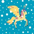 Cute colorfull magic unicorn with snow poster, greeting card, fabric, wallpaper, t-shirt. Royalty Free Stock Photo