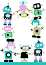 Cute colourful robots linking together border loads space your message poster Royalty Free Stock Images