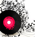 Abstract music background with vinyl record  and notes Royalty Free Stock Photo