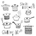 Cute cooking pots and lettering. Vector set Royalty Free Stock Photo
