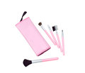 Cute cosmetic bag with many kind of brushes Stock Photo