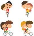 Cute couple on bikes