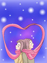 Cute couple bonding in winter scene with their scarf create by vector Stock Photo