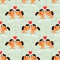 Cute couple brown dog seamless pattern