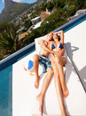 Cute couple enjoying a sunbath together Royalty Free Stock Photo